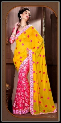 Enigmatic Fuchsia & Yellow Embroidered Saree