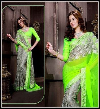 Majesty Gray & Lime Green Embroidered Saree