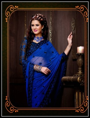 Fancy Black & Blue Embroidered Saree