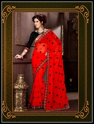 Flamboyant Red Embroidered Saree