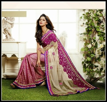 Alluring Beige & Pale Pink Embroidered Saree