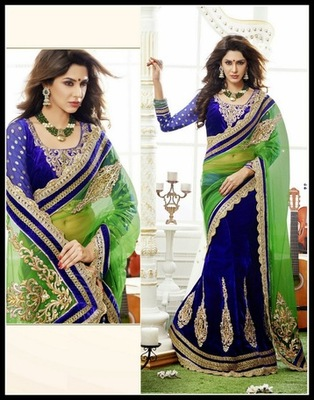Aesthetic Lime Green & Royal Blue Embroidered Saree