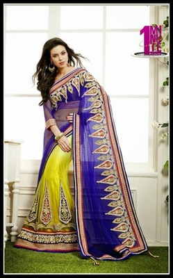 Splendorous Pale Deep Purple & Pale Mehendi Green Embroidered Saree