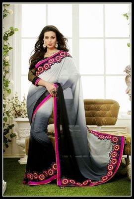 Sparkling Ash Gray & Black Embroidered Saree