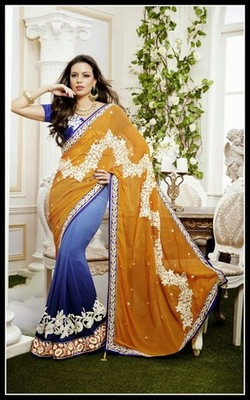Butta Mystic Blue & Orange Embroidered Saree