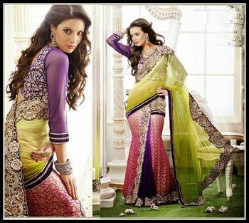 Sparkling Bluish Purple, Mehendi Green & Pink Embroidered Saree