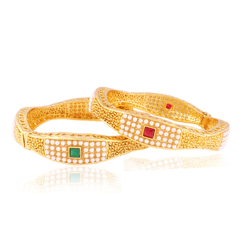Awesome pearl studded Gold plated Antique Bangles
