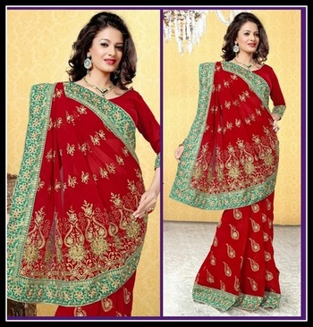 Sparkling Maroon Embroidered Saree