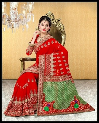 Adorable Red Embroidered Saree