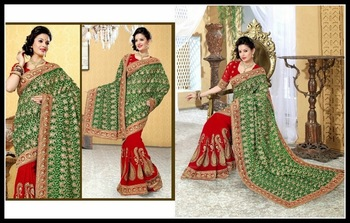 Scintillating Green & Red Embroidered Saree