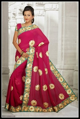 Tranquil Fuchsia & Pink Embroidered Saree