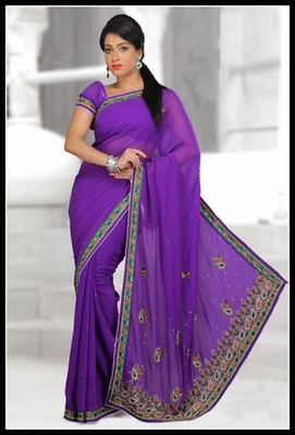 Scintillating Deep Purple Embroidered Saree