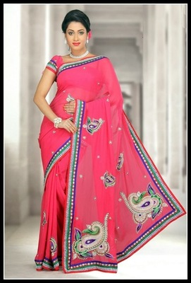 Dazzling Diva Pink Embroidered Saree