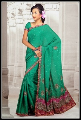 Charming Greenish Blue Embroidered Saree
