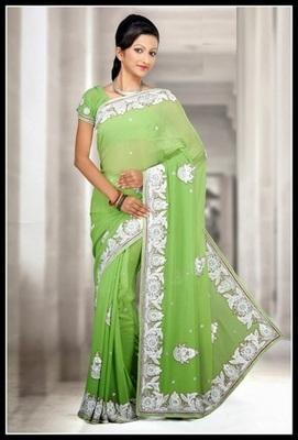 Flamboyant Parrot Green Embroidered Saree