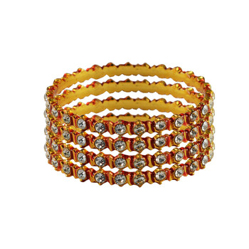 Stone Stud Gold Platted Brass Bangle