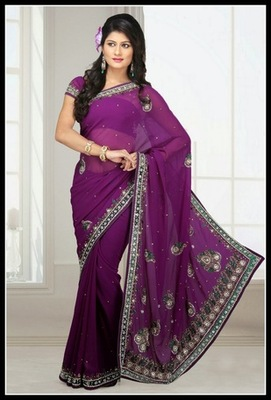 Luscious Violet Embroidered Saree