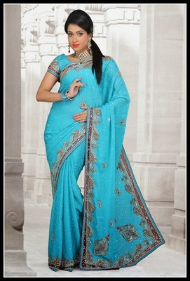 Charming Cyan Blue Embroidered Saree