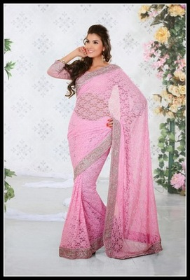 Contemporary Pink Embroidered Saree