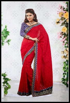 Butta Red Embroidered Saree