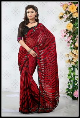 Tantalizing Deep Black & Red Embroidered Saree