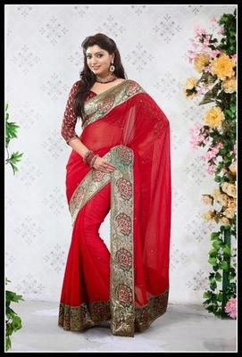 Elegant Crimson Embroidered Saree