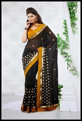 Elegant Black Embroidered Saree