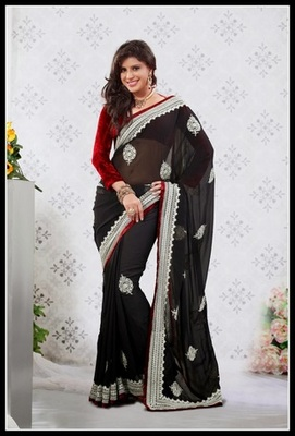 Scintillating Black Embroidered Saree