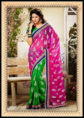 Elegant Green & Pink Embroidered Saree