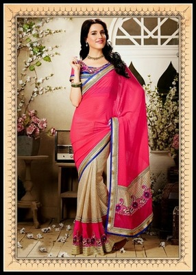 Tantalizing Beige & Pink Embroidered Saree