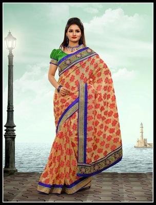Alluring Cream Embroidered Saree