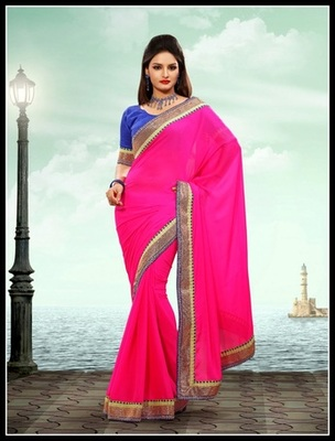 Tantalizing Fuchsia Embroidered Saree