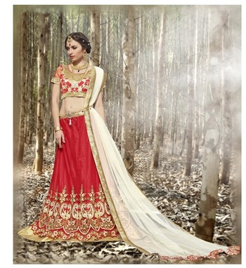 Red embroidered net unstitched lehenga choli
