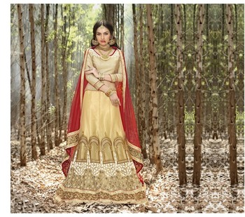 Beige embroidered net unstitched lehenga choli