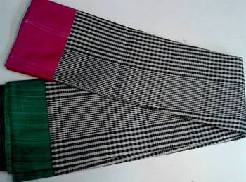 Black and white checkered saree with half pink and half green border