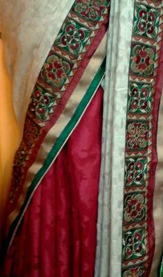 Half n half saree in red and off white with embroidered border