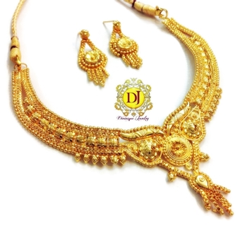 Gold plated real gold look necklace set