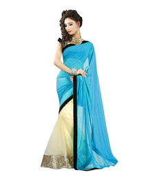 Buy Sky plain net saree With Blouse net-saree online