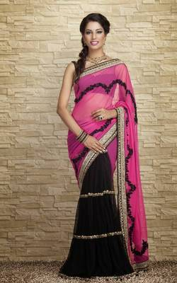 New designer half black & half pink saree