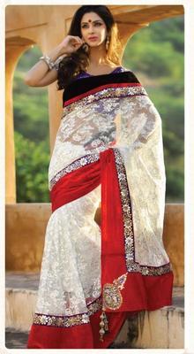 Designer white net saree.