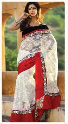 Designer white net saree.