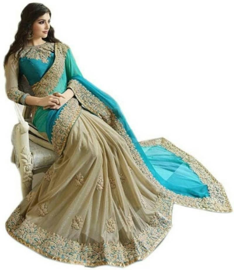 08dd365c55 turquoise embroidered georgette saree With Blouse - Jahnavi creation ...