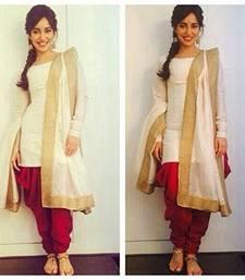Buy White cotton plain unstitched salwar with dupatta ready-to-ship-salwar-kameez online