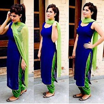Blue cotton plain unstitched salwar with dupatta