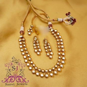 Round Kundan Meena Necklace