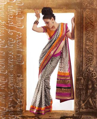 Designer Bhagalpuri Silk Printed Saree Sari With Lagadi Border and Pallu for Weddings, Party, Festivals