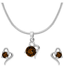 Buy Brown Victorian Heart Rhodium Plated Pendant Set for Wome Pendant online