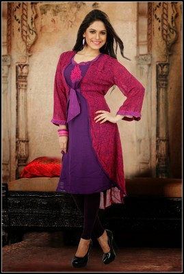 Classy Fuchsia & Pale Deep Purple Ready Made Kurti