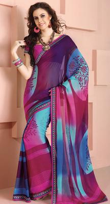 Blue Shaded Printed saree. 31157
