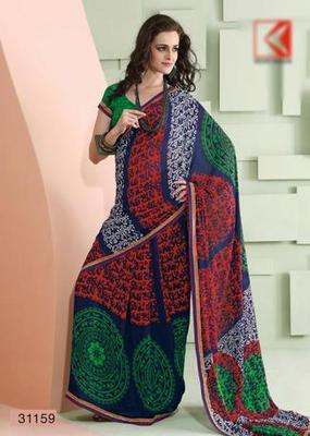 Blue Red lightweight  saree. 31159.